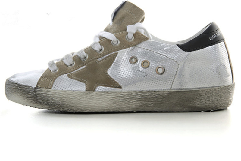 Italy Brand Golden Goose Bass Superstar Shoes Genuine Leather Men Women Silver Casual Shoes GGDB Argento Scarpe Di Marca Uomo