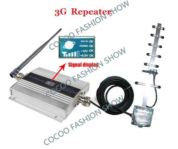 LCD !3G UMTS WCDMA 2100Mhz Booster/Repeater/Amplifier,mobile signal repeater, Cell Phone Signal booster Repeater +yagi antenna(China (Mainland))