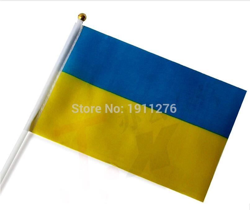 10PCS / lot 21*14cm Ukraine National Flag Ukraine Flying Flag Patriot Pennant Banner Football Soccer Banner Beer Pennant(China (Mainland))