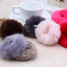 Cute Trendy Warm Soft Polyester Rabbit Fur Elastic Hair Rope Band Hair Accessory Rubber Band Girls Headwear Free Shipping LY(China (Mainland))