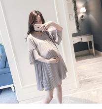 2016 Summer Style Maternity Dress Short Sleeve V neck Fashion Chiffon Elegant Aline Pleated Dress Pregnancy Women Dress
