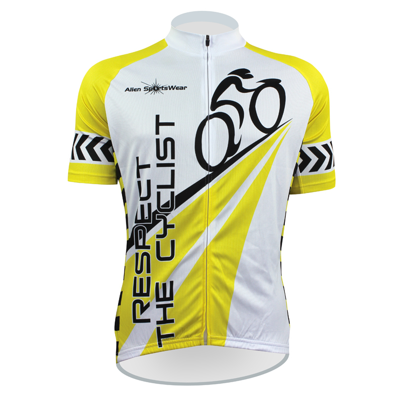 Cycling Jersey 2015 Aliensports Respect Cyclist Funny Clothing Yellow Breathable Bike Shirts - cycling jerseys' store