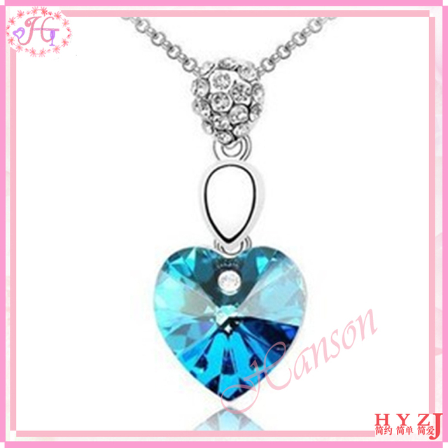 Fashion rhinestone necklace Full Austria crystal peach heart pendant necklace free shipping NL96