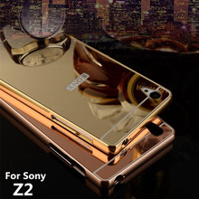 Buy Z2 Case Sony Xperia Z2 L50w Cases Bumper Golden Plating Metal Frame + Mirror Acrylic Back Cover Z2Case L50u black SonyZ2 for $4.24 in AliExpress store