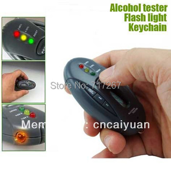 Car Gadget Alcohol Tester with LED Flashlight and Keychain Freeshipping Dropshipping