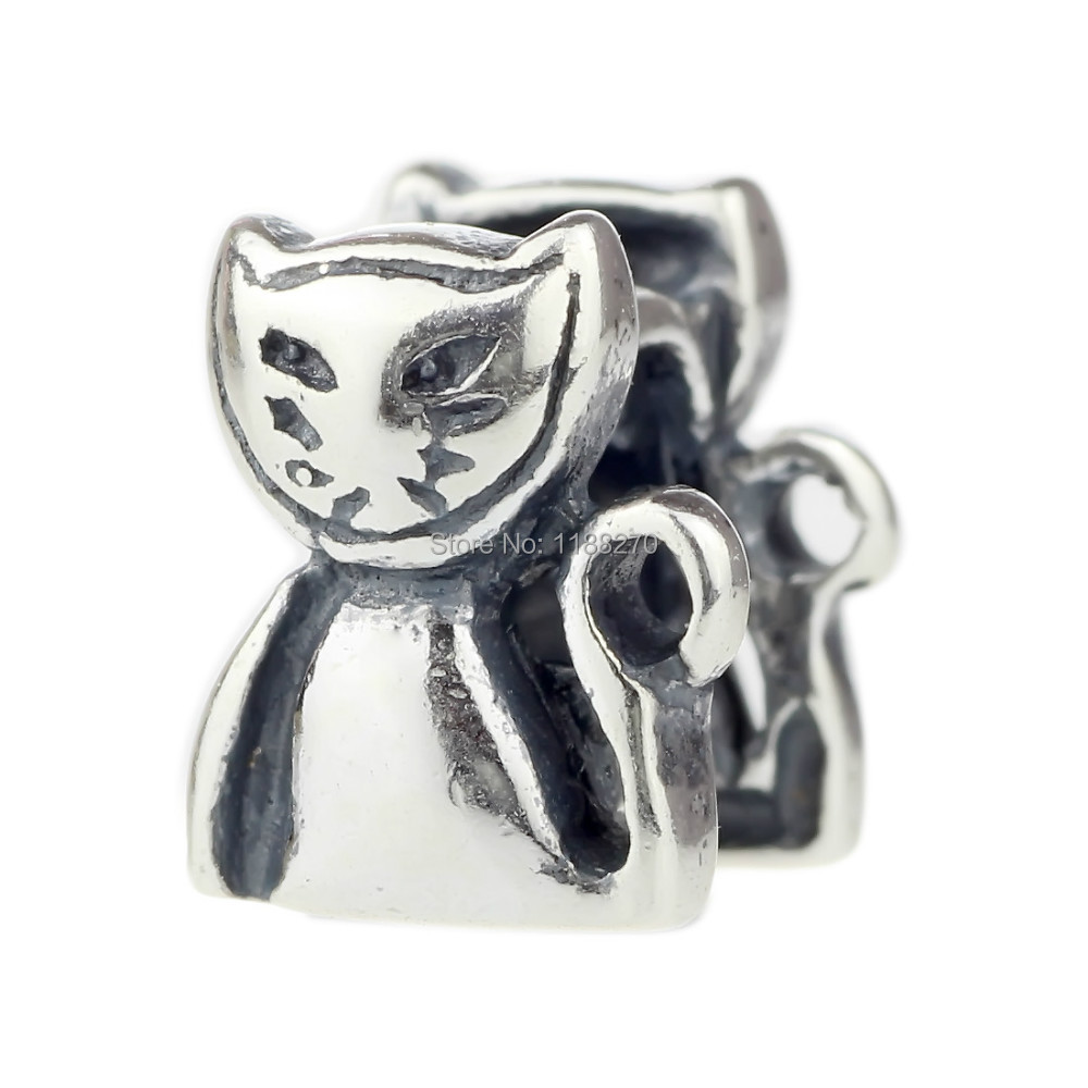 925 Solid Sterling Silver Bead Charm Charming Miss Kitty for European Charm Bracelet Chain DIY(China (Mainland))