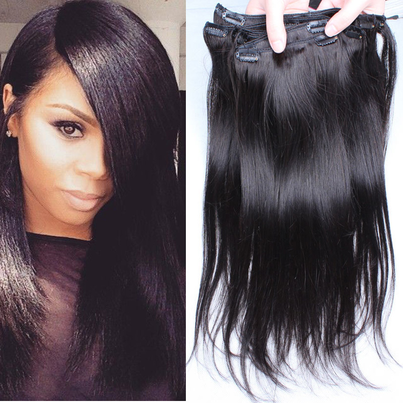 Clip In Virgin Hair Extensions Remy Indian Hair