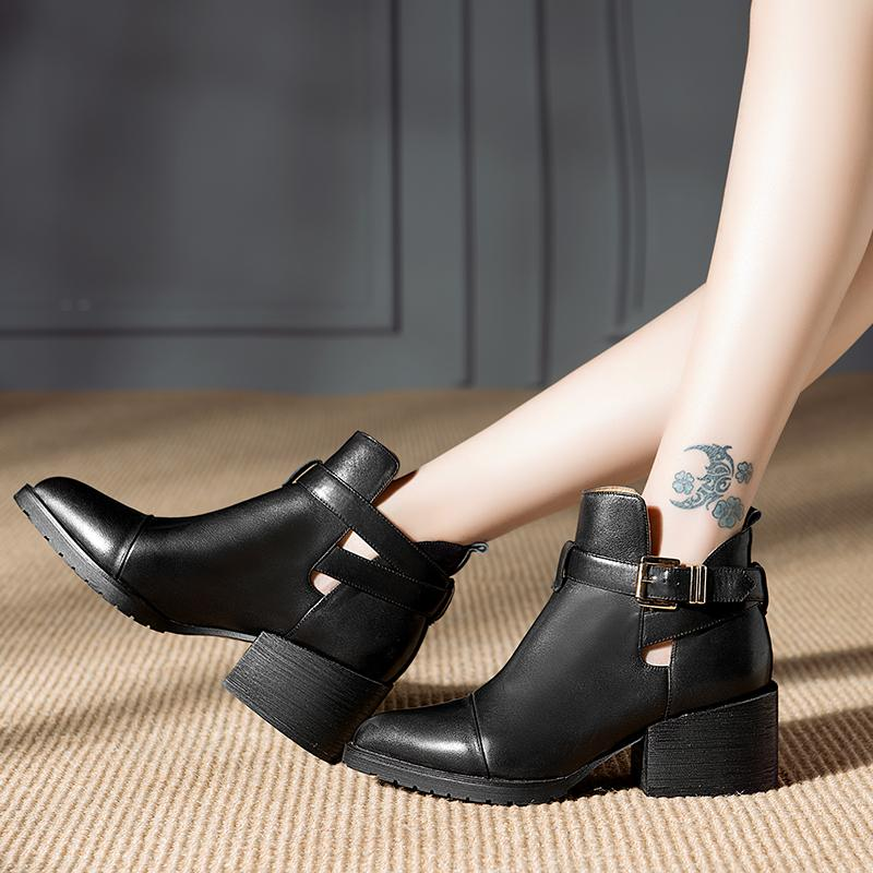 New Arrival Autumn Spring Buckle Med Square Heels For Women Retro Pointed Toe Platform Shoes Genuine Real Leather Ankle Boots