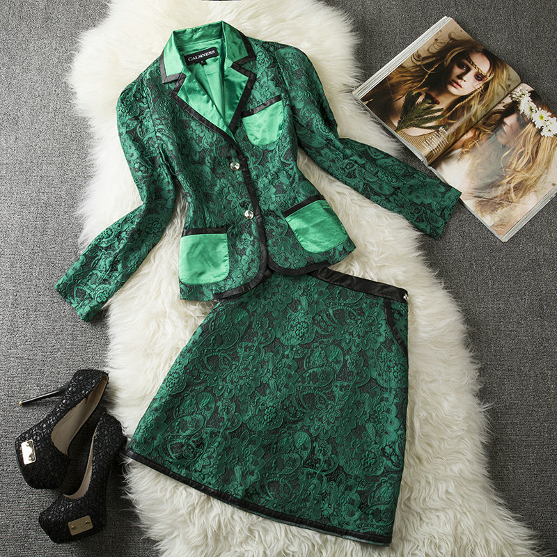 runway 2014 designer Fashion women's fall queen ol elegant casual sets jacquard jacket leather skirt suit XL blue green - Fair Lady Collections Store store
