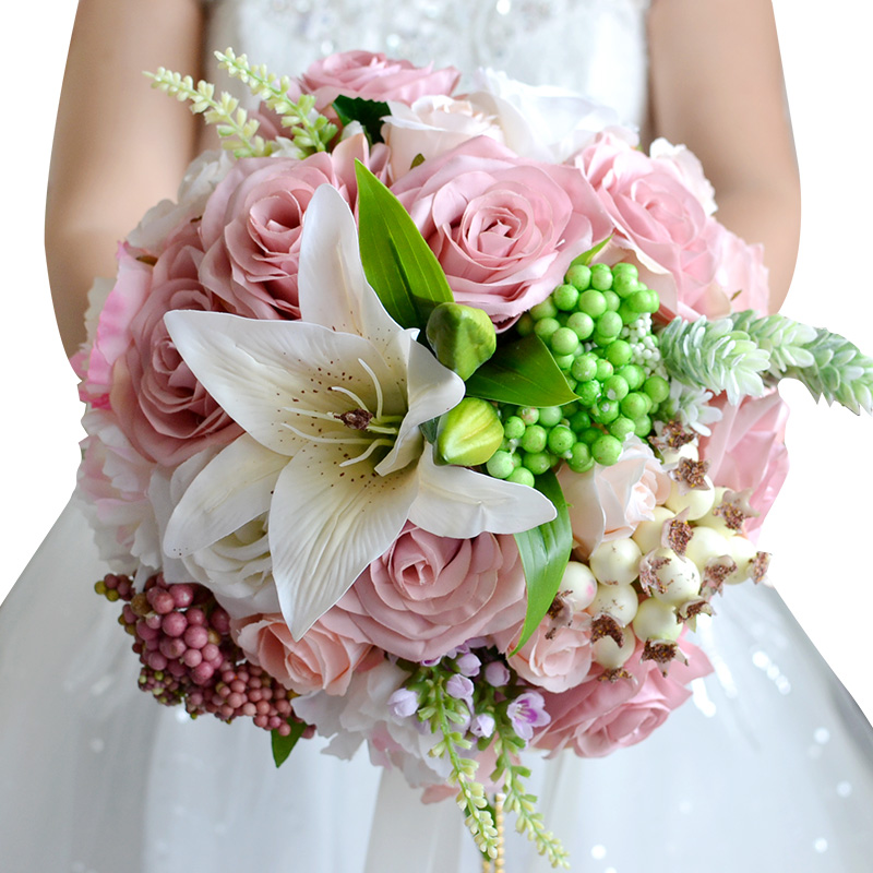 Beautiful Wedding Bouquet Assorted Roses Lily bouquet wedding accessories Artifical Wedding flowers Bride Bouquet FE15(China (Mainland))