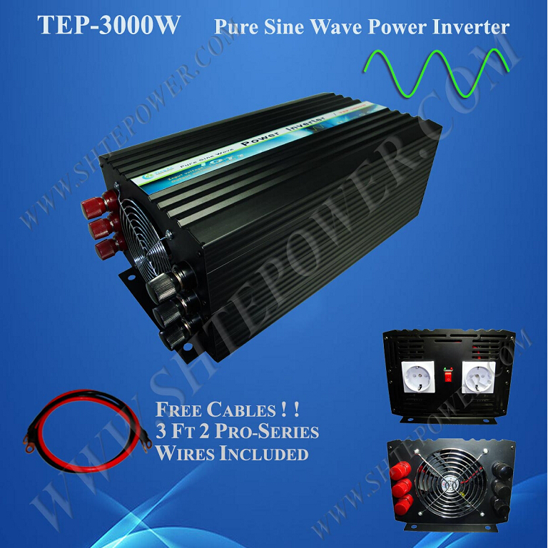 pure sine wave off grid dc 12v 24v to ac 110v 220v 230v solar inverter 3000w 220v(China (Mainland))