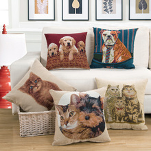 Cat and Dog Embroidered cushion cover