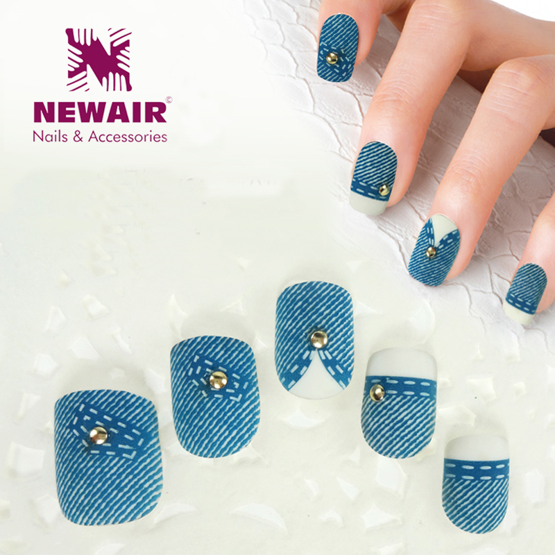 2016 New 3 sets\lot  Blue Jeans Style False Nails Fashion Fake Nail Acrylic Charming Nail Art Tips With Metal Decoration <br><br>Aliexpress