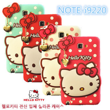 For Samsung Galaxy Note 1 N7000 phone case New arrive cute Polka Dot Hello Kitty i9220 Soft Silicone Cover MOQ:1pcs(China (Mainland))