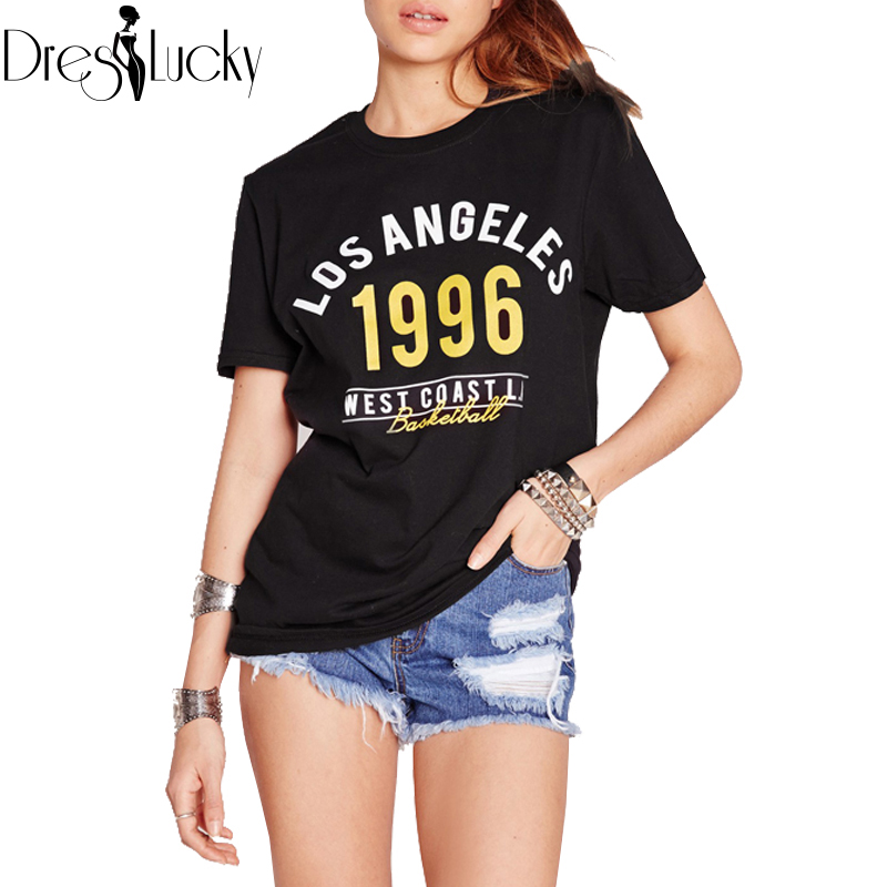 Fashion loose black t shirt summer 2016 tops casual women's t-shirts short sleeve letter print tees plus size clothes for women(China (Mainland))