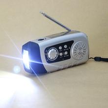 Manivela Cargador de Teléfono 2000 mah Linterna LED Al Aire Libre Tarjeta de TF/FM Raido Eléctrica Manual de manivela Solar radio generador