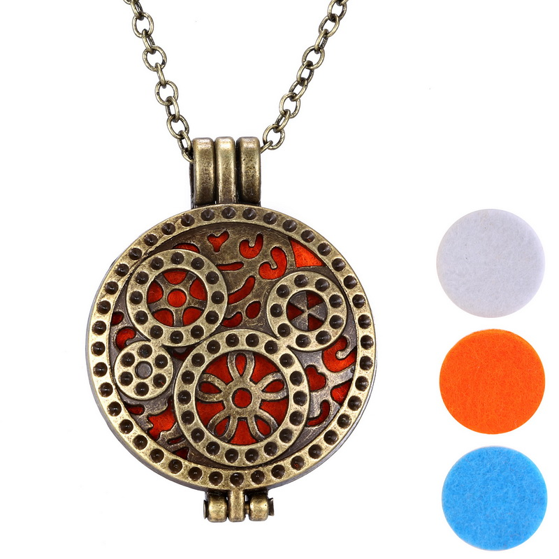 (3pcs Felt Pad ) Vintage Copper Aromatherapy Locket Pendant Necklaces Women Perfume Fragrance Essential Oil Diffuser Necklace(China (Mainland))