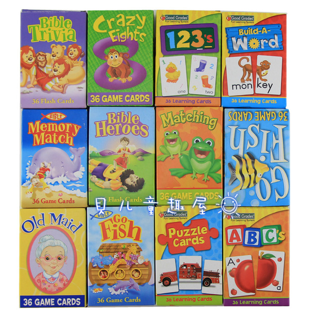 6 PCS in One Lot Word Game Card Children Toy Puzzle Poke Card Early Development Educational Toy ABC Letter Numbers Learning