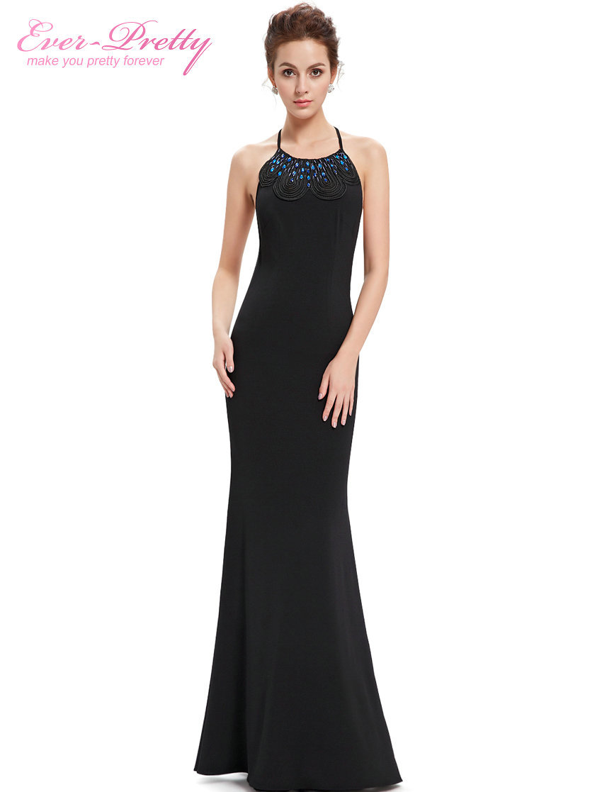 Evening Dresses Fashion Women Sexy 2016 Black Adjustable Halter Long Ever Pretty He08558 Summer