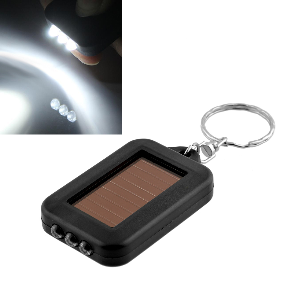 Mini Solar Power Black 3LED Light Lamp Keychain Torch Flash Flashlight Key Ring Rechargeable Useful(China (Mainland))