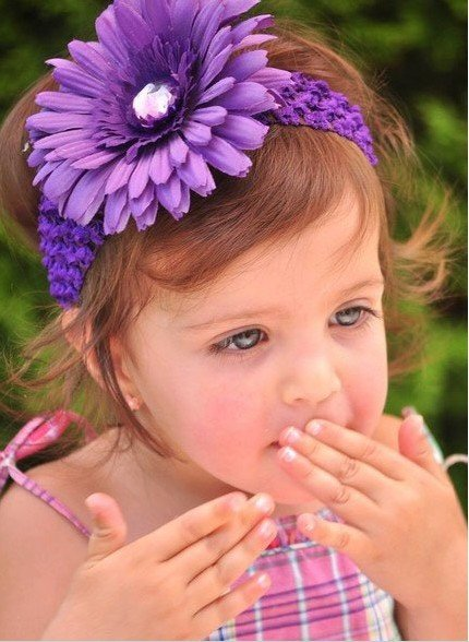 free shipping wholesale 500pcs 1.5 inch Gerbera Crochet band girls 4'' daisy baby hair bow clip flower Headband fast deliever(China (Mainland))