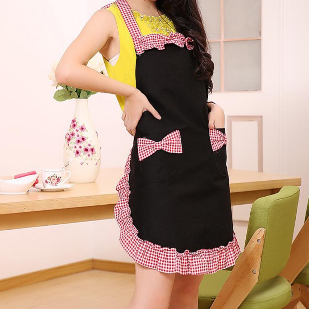 New Fashion Lovely Princess Apron Black Rural Style For Ladies Bowknots Grid Pattern Apron Household Cleaning Accessories(China (Mainland))
