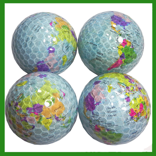 High Quality 4pcs/lot Surlyn & Rubber Golf Sticker Balls Globe Map Collection Novelty Double Golf Balls Great Gift(China (Mainland))