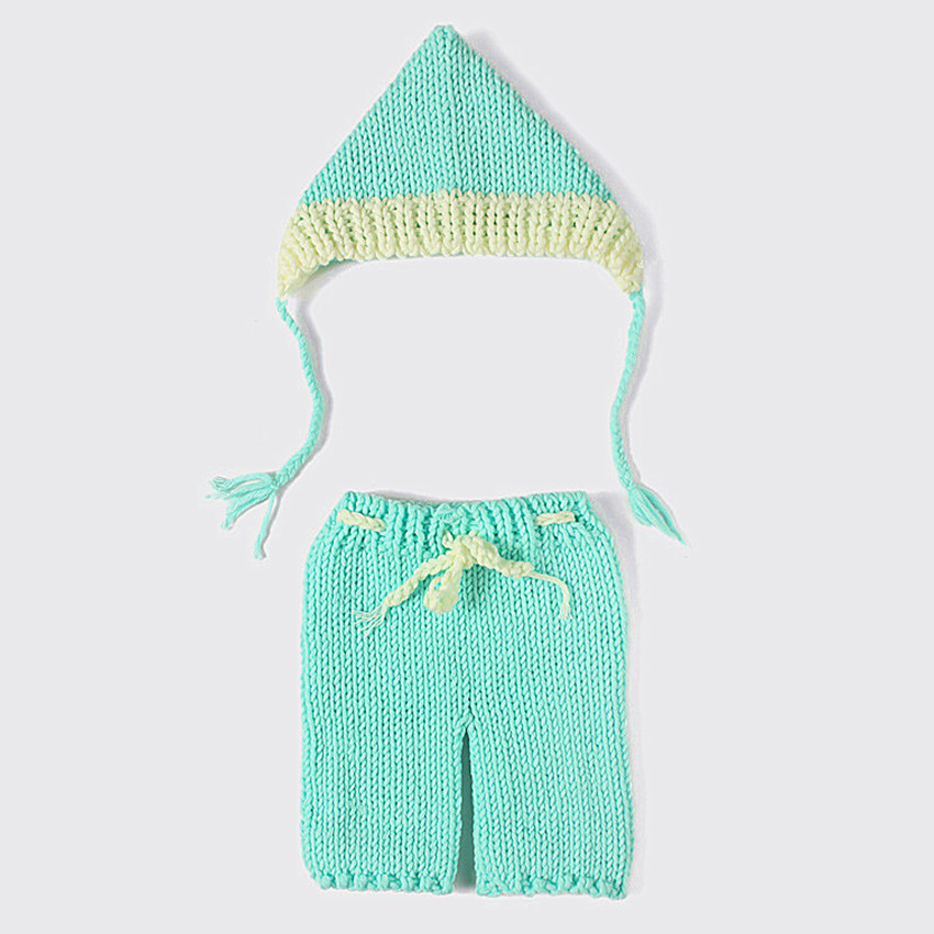 Sky Blue Suits Crochet Knitting Baby Animal Costume Hand Made Adorable Newborn Photography Props SY102(China (Mainland))