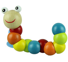 Novel designs Variety Twist-colored Insects Wooden Toys Educational Toys kid caterpillar toys(China (Mainland))