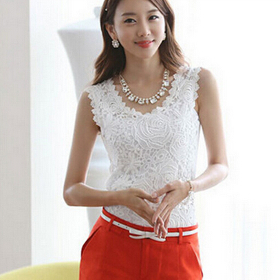New Women Cotton Knitted Lace Sleeveless Tank Tops Plus Size Causal Lace Tops Women Pullovers Black White S-XXL Women Clothing