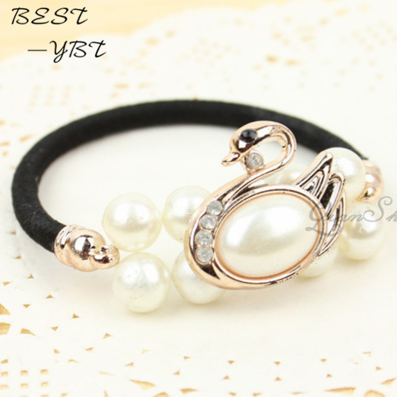 1 Pcs 2015 New Listing Pearl hair rope diamond tiara hair accessories mixed batch high-end hair ring Tousheng hairpins scrunchy(China (Mainland))