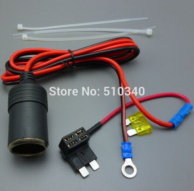 1M 1.5mm2 Car Cigarette Cigar Lighter DC12V Extension ATC Fuse Tap Holder Lead(China (Mainland))