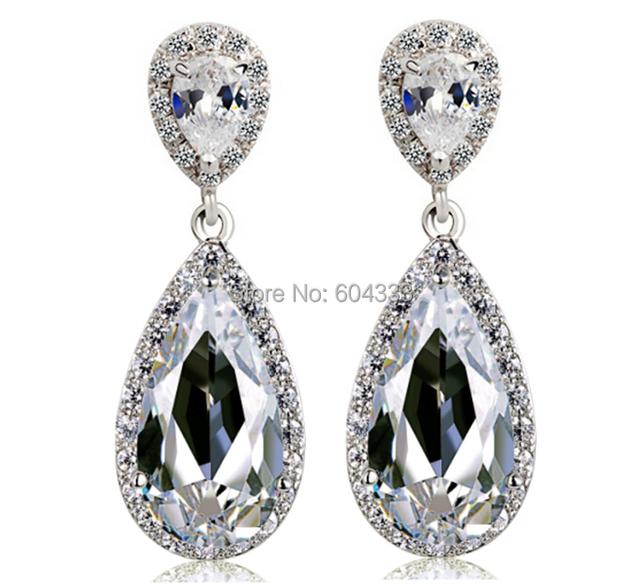 Роскошный большой кристалл циркон серьги невесты свадебные аксессуары и украшения подарок для жены