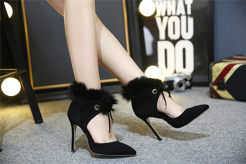 Elegant Womens Lace Up Pumps 2017 Spring Summer Shoes Pointed Toe Lady Shoes Thin High Heel Ankle Strap Pumps with Fur
