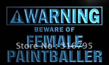 m905-b Warning Beware of Female Paintballer LED Neon Sign