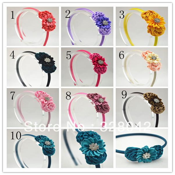 Trail order 10 colors satin ribbon flowers headband silk rosettes with Sparkling Rhinestone Pearl hair accessory 20pcs/lot(China (Mainland))