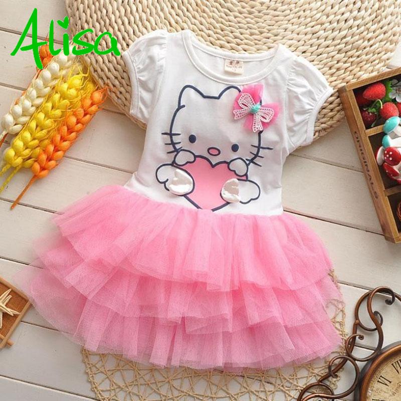 2015 new arrival girls dress Hello kitty cartoon KT wings tutu dress bow veil Kids love children's clothing free shipping(China (Mainland))