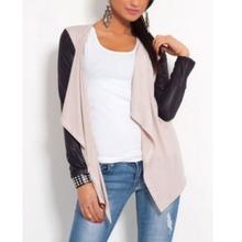 Hot Women PU Leather Sleeve Irregular Sweater Cardigan Casual Knit Coat Outwear(China (Mainland))
