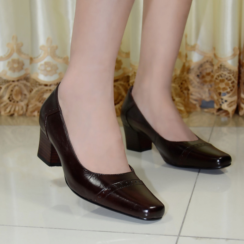Фотография Pumps,women pumps,shoes,women shoes, genuine leather med heel dress shoes for women office ladies shoes 2016 new style 319-A1