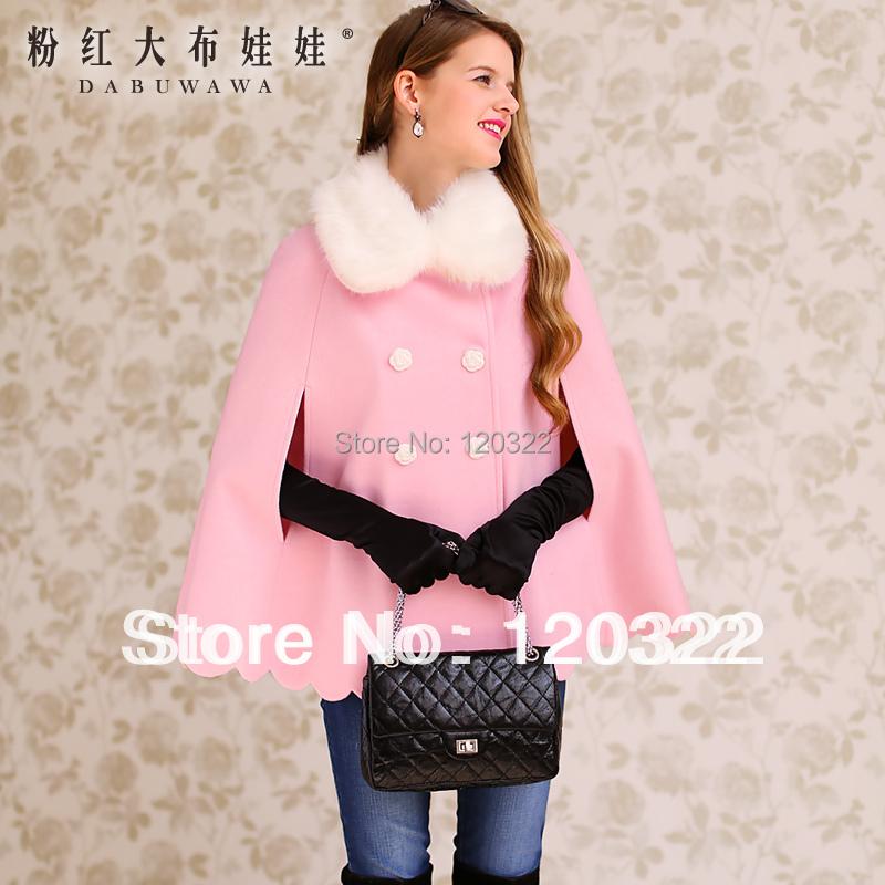 Original New fashion 2013 Brand OL Thick Wool Fur Collar Skirt Coat Down Jacket Women Autumn-Winter Pink Petals Sweep CloakОдежда и ак�е��уары<br><br><br>Aliexpress