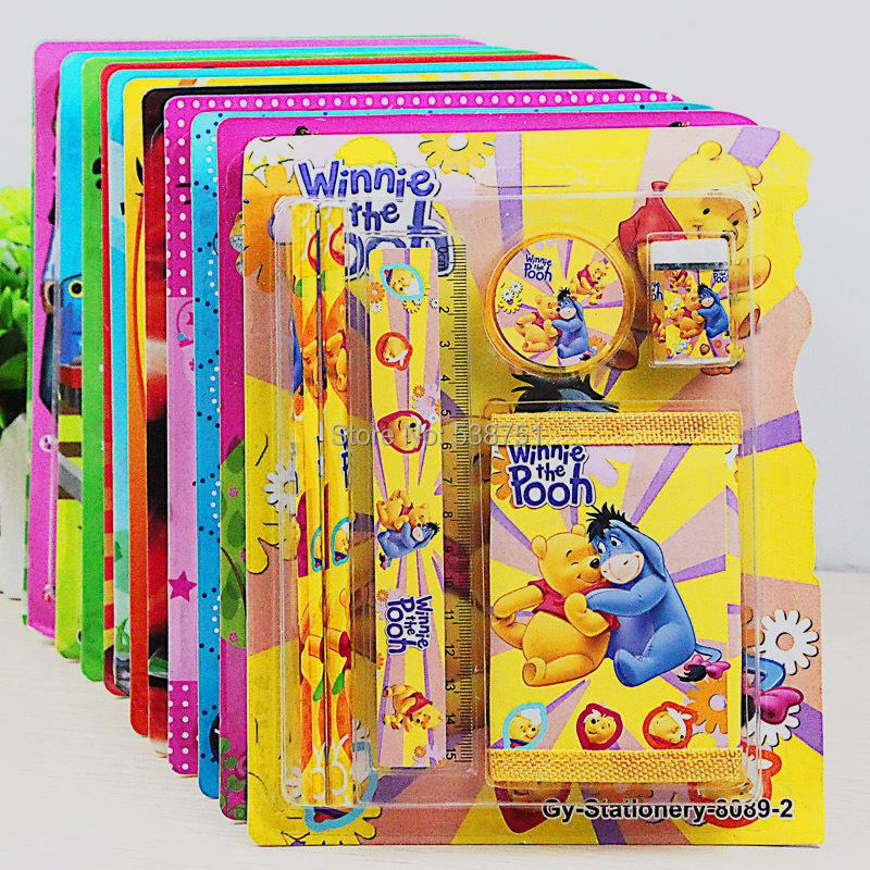 FREE shipping by FEDEX 200sets/lot Wholesale Cartoon Winnie/Snow White/Hello Kitty/Ben 10/Mickey/Cars/Thomas Stationery Set(China (Mainland))