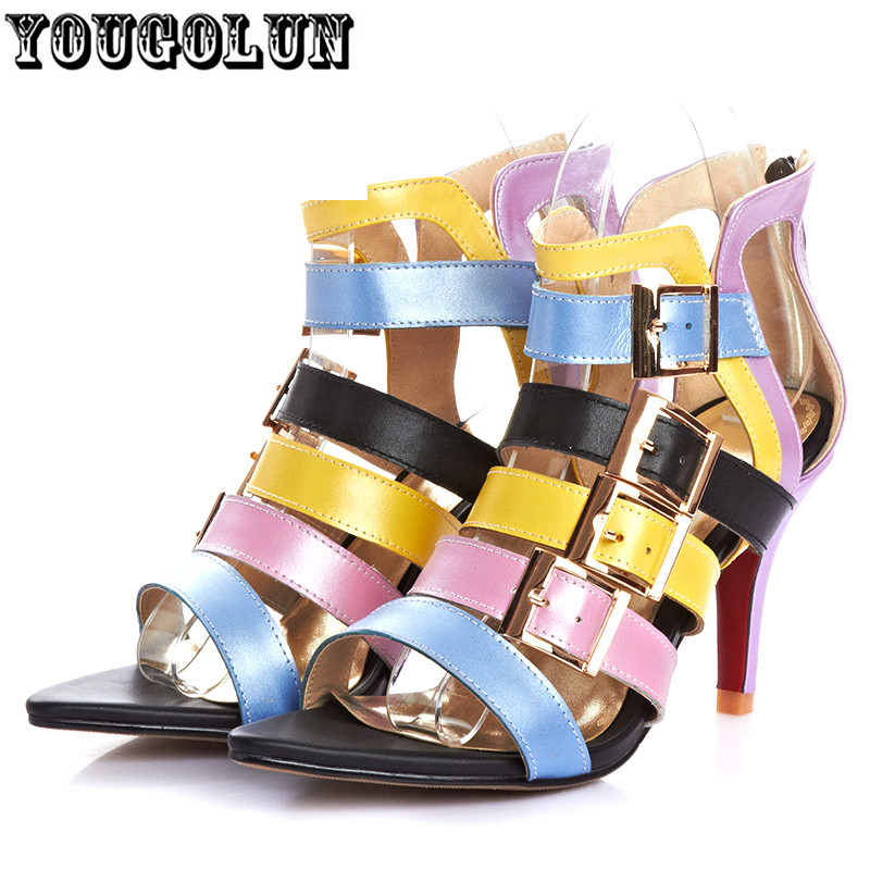 2015 new Women genuine leather Sandals sexy Ladies Summer Shoes high heels red sole Sandal Woman sandal Fisherman open peep toe