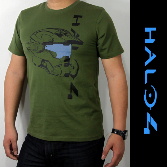 Mens Casual Summer Halo 4 T-shirts Printed Pattern 100% Cotton Tee Top Short Sleeve Green Color(China (Mainland))