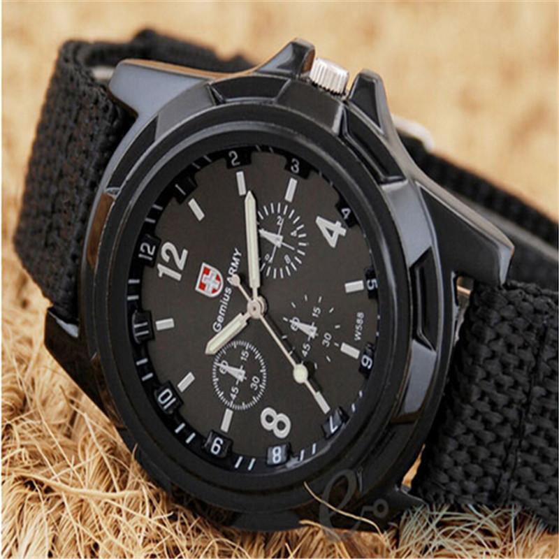2015 New Fashion Wholesale Soldier Military Men Outdoor Sports Watches Quartz Canvas Strap Fabric Watch For