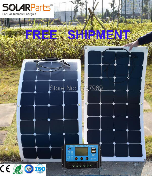 free shipping Solarparts 2PCS 100W flexible 12V solar panel solar cell boat RV solar module for car/RV/boat battery charger(China (Mainland))