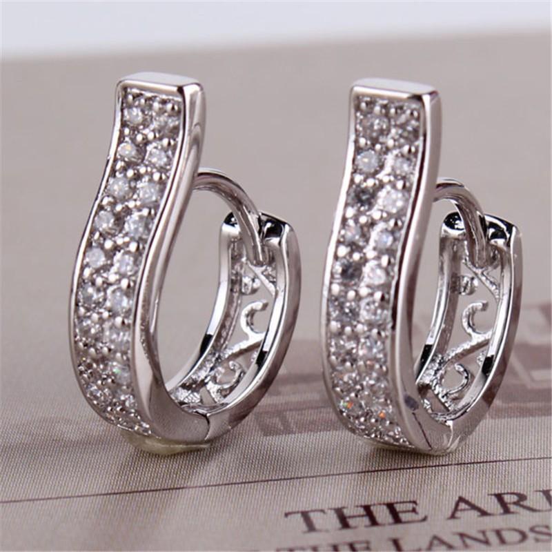 E105d אופנה זהב 18k פלטינה אופנתי קריסטל עגילי חישוק מדומה תכשיטי יהלומים לנשים יום הולדת, ולנטיין, מתנה