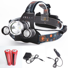 Super Bright 5000LM 3*Cree XML XM-L T6 LED Headlight 4 Modes Rechargeable Headlamp + 2*18650 + Chargers For Hunting Outdoor