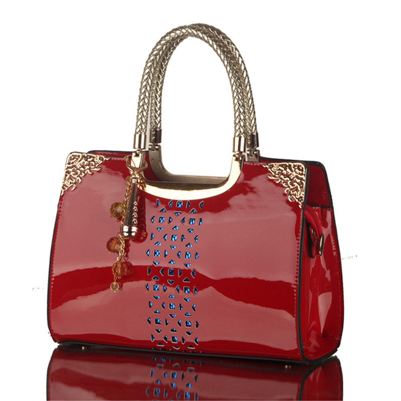 new red blue black pendant Hollow out Sequined Glossy patent leather Women handbag boston tote shoulder top handle frame bags PU(China (Mainland))