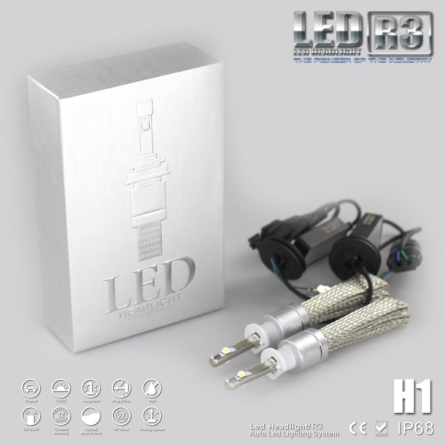2X Smallest H1 LED 80W 9600LM Car Headlight Bulb Lamp Kit 6000k light Silver(China (Mainland))