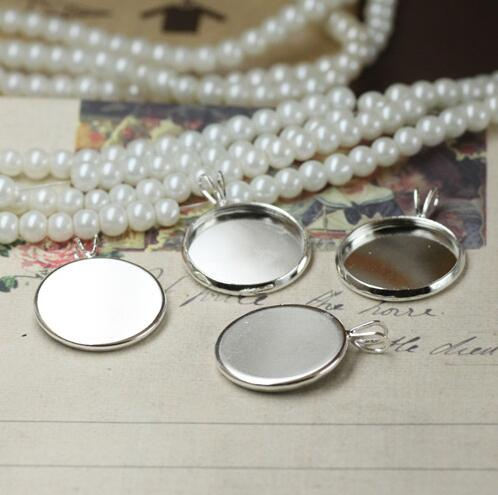 20pcs Bulk Silver Plated Jewelry Cabochon Charms Tray Bezel Blank Base W/ V Loop 10-25mm Round Shape Pendants Metal Accessories(China (Mainland))